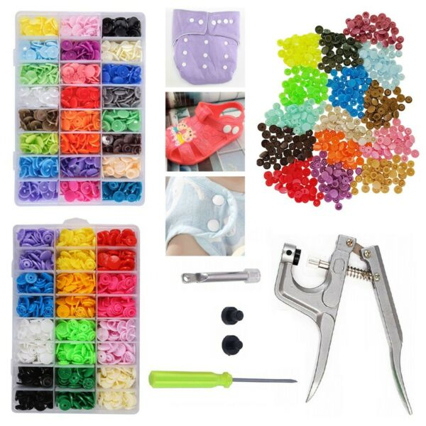 150240 sets Mixed Color Plastic Press Snaps Poppers Fasteners with Tools Kit