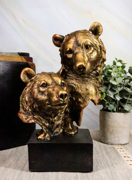 Rustic Western Wild Forest Black Bear With Cub Bust Statue On Museum Base 9.25quot;H