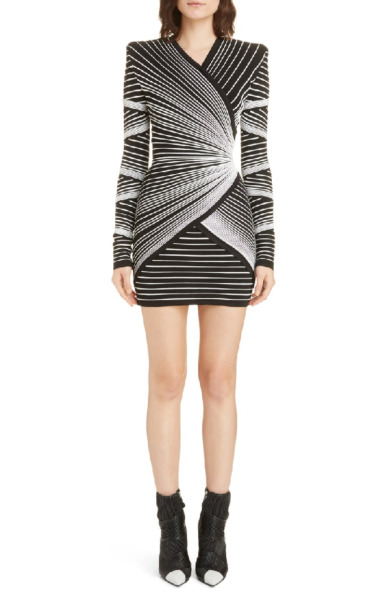 🖤 BALMAIN Black White Optical Effect Faux Wrap Knit Cocktail Mini Dress 36 4 S