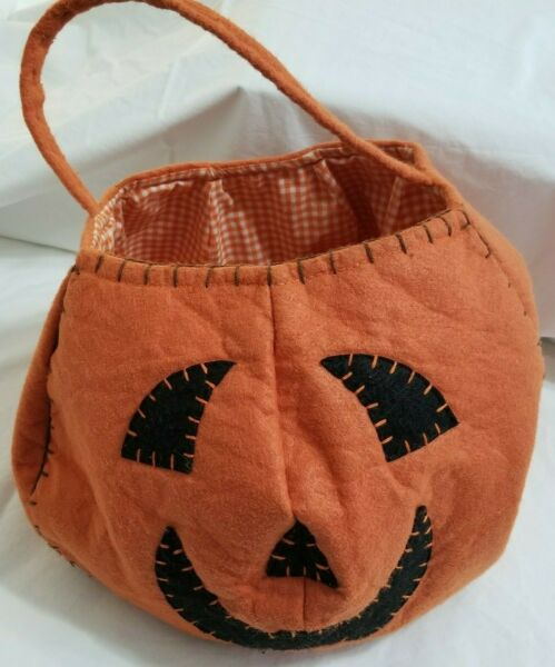 Pottery Barn Kids Pumpkin Treat Bag Halloween Orange Gingham Check Lined Clean-M