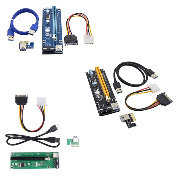 Extender USB3.0 1x to 16x Riser Card Adapter SATA Power Cable PCI-E Express B2AE