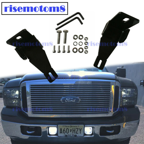 Front Bumper Dual Fog Light Mounting Brackets For Ford F250 F350 F450 1999 2016