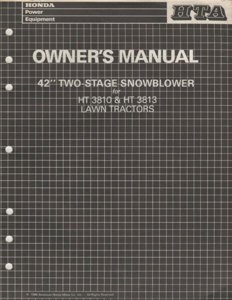 1986 HONDA 42quot; TWO STAGE SNOWBLOWER for HT3810HT3813 LAWN TRACTOR OWNERS 129