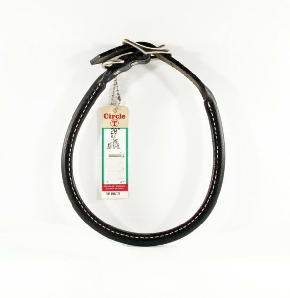 Circle T Pet Dog Leather Round Collar Black 20quot; Neck Made in USA $17.95