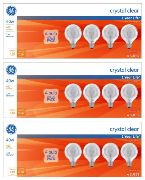 Lot of 12x General Electric 40w G25 Incandescent Light Bulbs Crystal Clear $16.00
