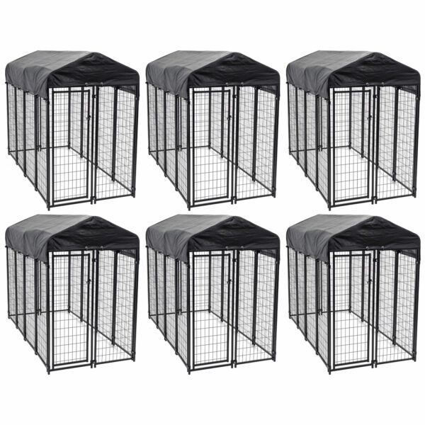 Lucky Dog Uptown Large Outdoor Covered Kennel Heavy Duty Dog Fence Pen (6 Pack)