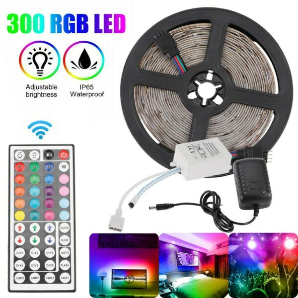 32FT Flexible Strip Light 5050 RGB LED SMD Remote Fairy Lights Room TV Party Bar
