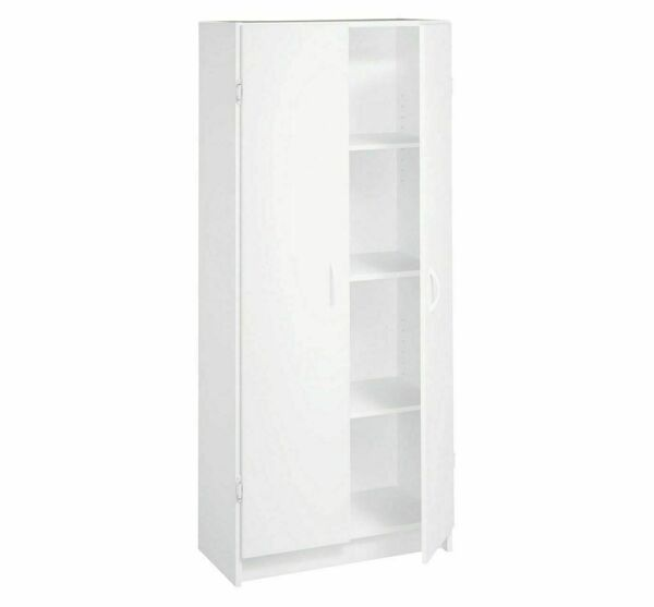 Pantry Cabinet Storage Wood Organizer 2 Doors 4 Shelves Freestanding White NEW