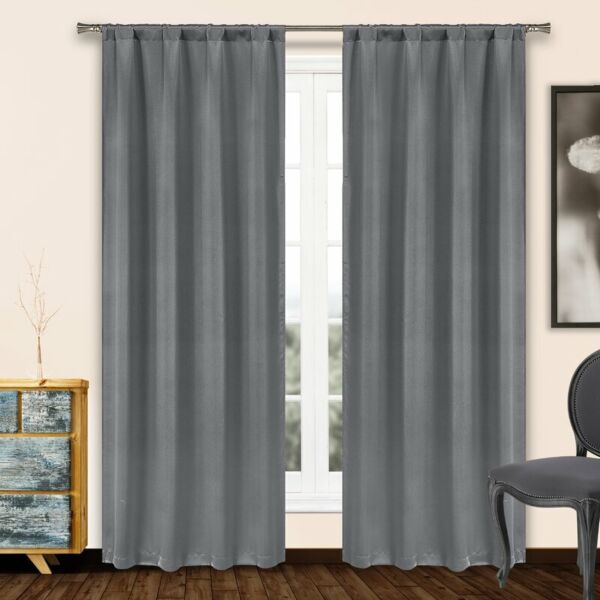 Solid Heavy Blackout Thermal Rod Pocket Window Curtain Pair Panel (Set of 2)
