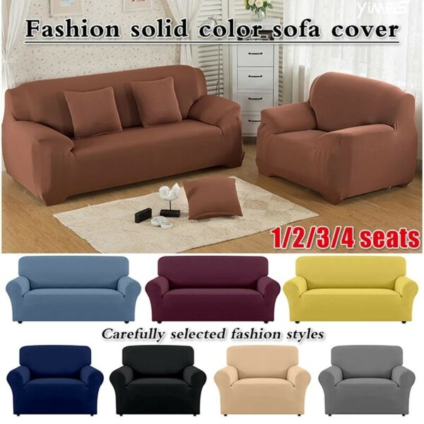 Solid Color Sofa Cover Stretch Seat Couch Cover Love Seat Funiture Slipcovers US $17.85