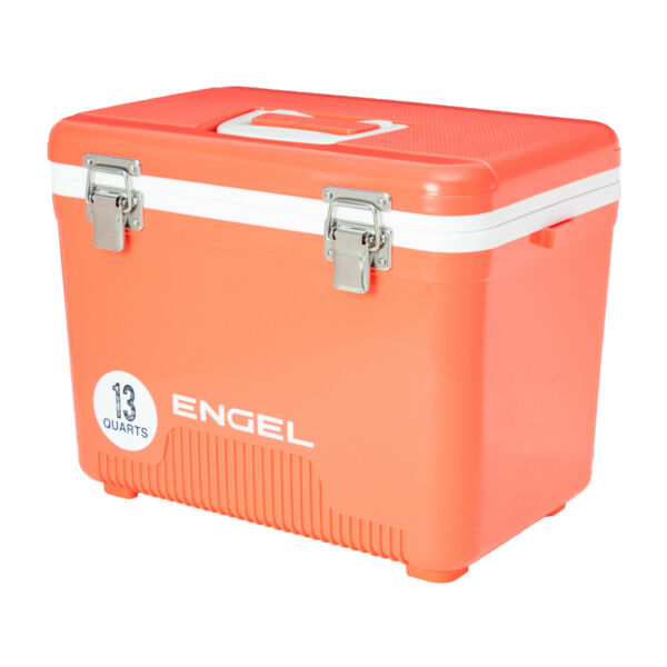 Engel 13 Quart 18 Can Leak Proof Odor Resistant Insulated Cooler Drybox Coral