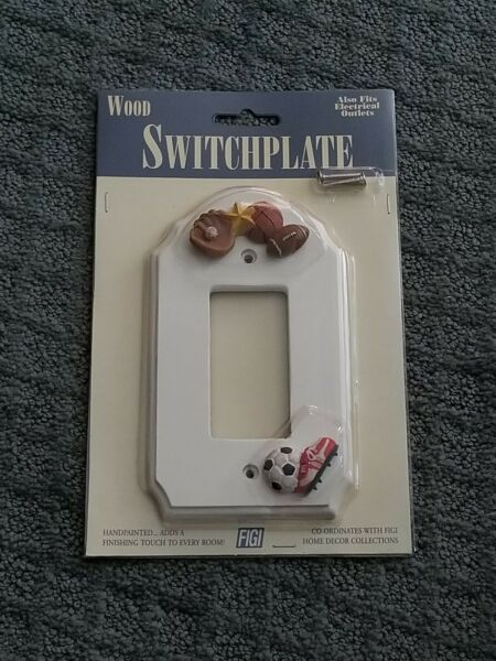 FIGI HANDPAINTED WOOD SWITCH PLATE quot;FOR THE LOVE OF SPORTSquot; THEME NEW $13.50