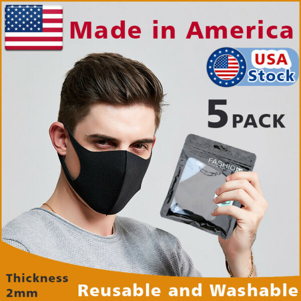 5-PACK Black Face Fashion Mask Washable Reusable Unisex Adult MASK Made  IN USA $9.98