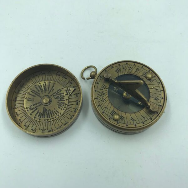 Nautical Antique Brass Dollond London Sundial Compass Vintage Solid Brass $21.60