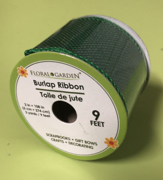 GREEN BURLAP RIBBON 2in Wide With 9ft Green