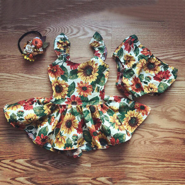 Sweet Newborn Kids Baby Girls Sunflower Top Dress+Bottoms Shorts Outfit Clothes