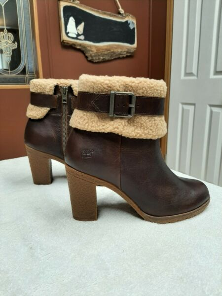 Timberland Brown Glancy Teddy Bear Fold Down Ankle Boot Size 8.5 $44.99