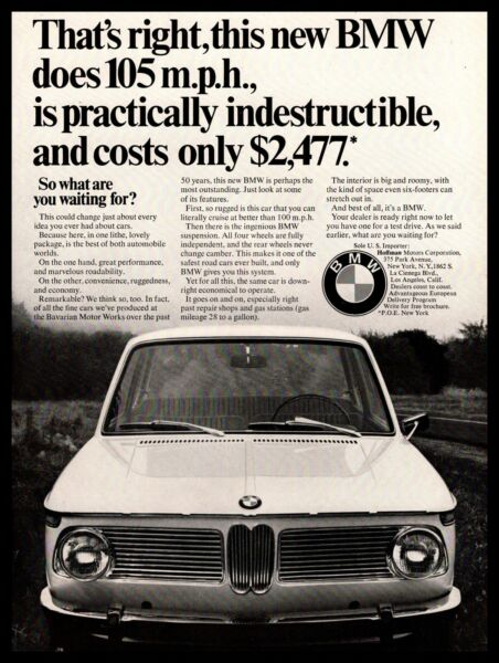 1967 BMW 1600 quot;Does 105 MPH Is Practically Indestructible For $2477quot; Print Ad $9.95