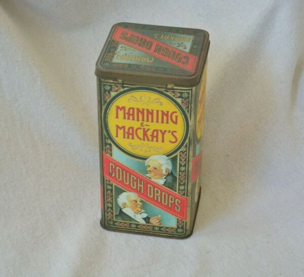 Antique Box Manning amp; Mackay#x27;s Cough Drops Metal Tin Box with Lid