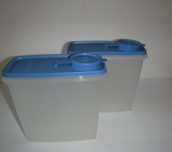 Set of 2 Tupperware Cereal Storer 13 Cup Pour All Keeper SheerClear Light Blue