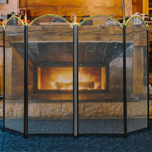 VIVOHOME Large Folding Fireplace Screen 4 Panel Fire Guard Shield Iron Fence NEW