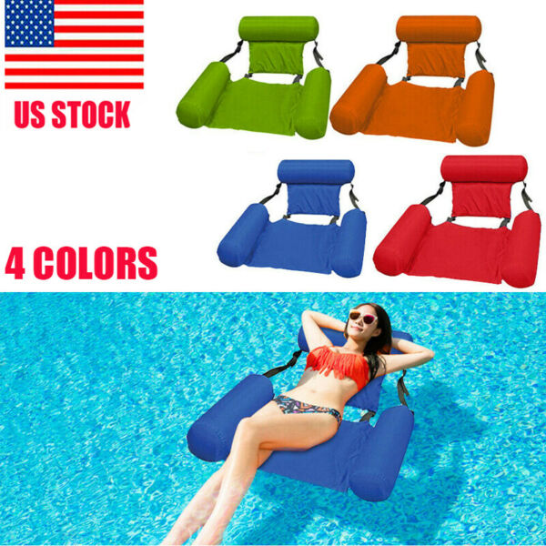 Inflatable Swimming Floating Chair Pool Seats Foldable Water Bed Lounge Chairs $24.99