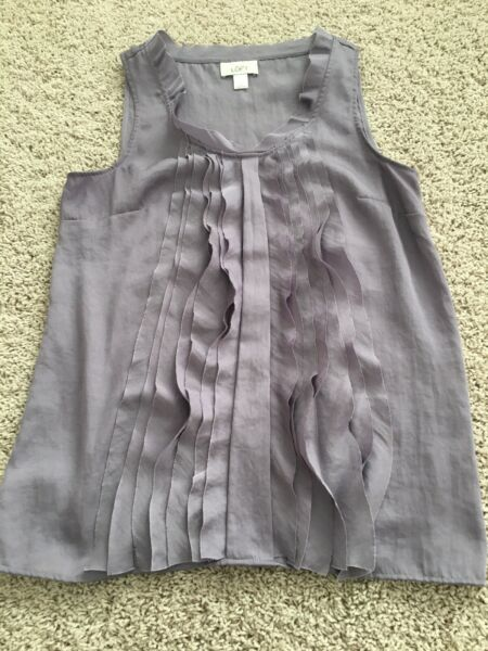 Ann Taylor Loft Womens Small Tank Top Lavender Ruffle Pleated U Neck Polyester $15.00