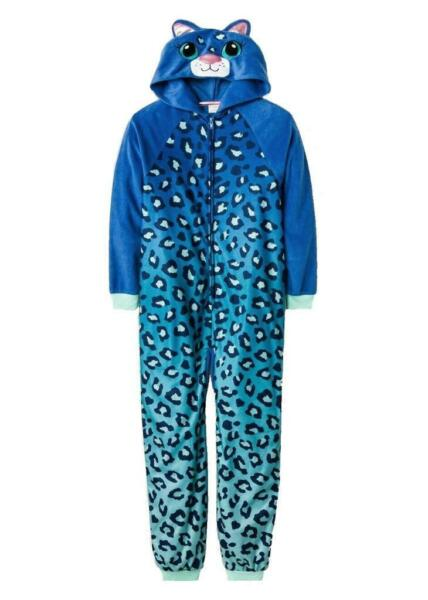 NEW Girls Cat amp; Jack Leopard Pajamas SZ 7 8 Medium One Piece Union Suit Costume $12.00