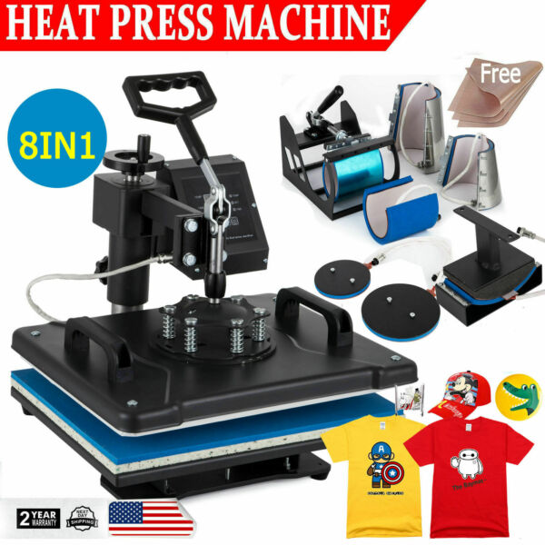 8 in 1 Heat Press Machine Digital Transfer Sublimation T Shirt Mug Hat Plate Cap $173.90
