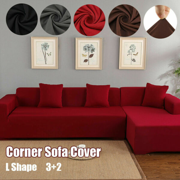32 Seater L Shape Stretch Elastic Fabric Sofa Sectional Corner Couch Covers USA $46.04