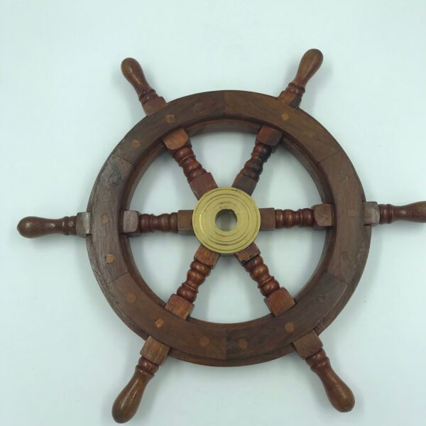 Nautical Wood and Brass Ship Steering Wheel Pirate Wall Decor Fishing Boat $29.98