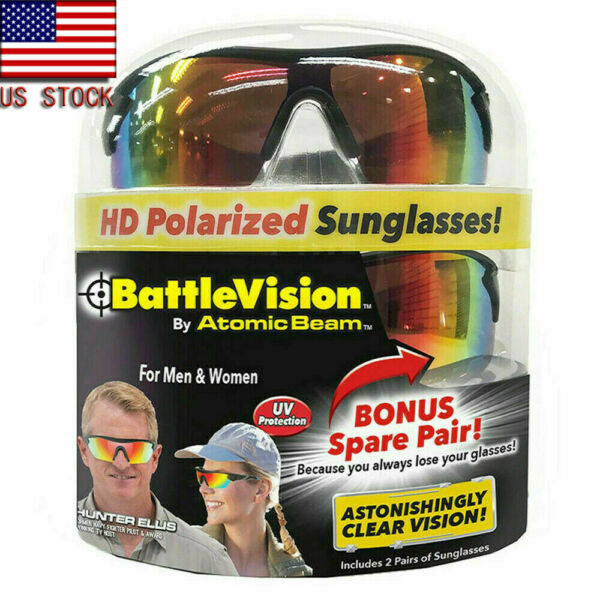 2 Pairs BattleVision Polarized Sunglasses Clear  As Seen on TV Unisex