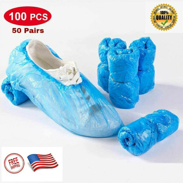 100 PCS Waterproof Boot Covers Disposable Shoe Cover Elastic Protect Overshoes $7.99