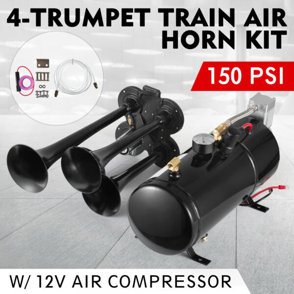 150DB 4 Trumpet Train Horn Kit with 150 PSI Air Compressor for Car Truck Train