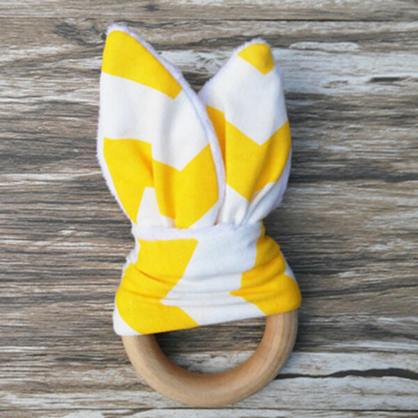 NEW Natural Wooden TEETHING Ring With MINKY Fabric Bunny Ears YELLOW Chevron