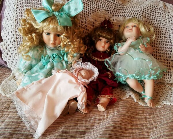 3 Gorgeous Porcelain Dolls Plus baby!! Collectors Choice & Charm? Free Shipping