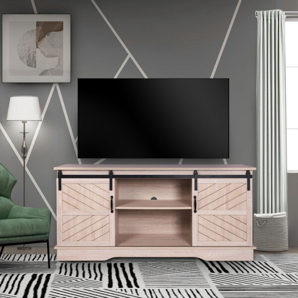 Modern Wood TV Stand with Sliding Barn Door,Media Console Entertainment Center