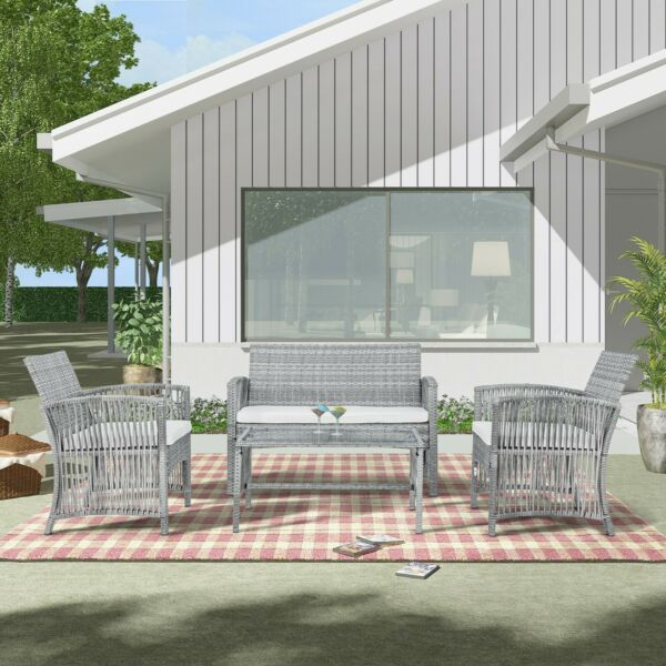 4 Pieces Outdoor Furniture Rattan Chair Table Patio Set Outdoor Sofa Garden US