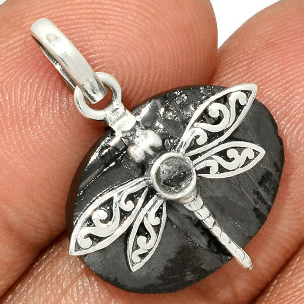 Dragonfly - Russian Elite Shungite 925 Silver Pendant Jewelry AP186128