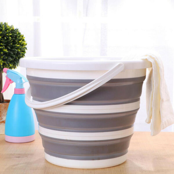 Collapsible Plastic Bucket Folding Round Tub Portable Fishing Water Pail Grey