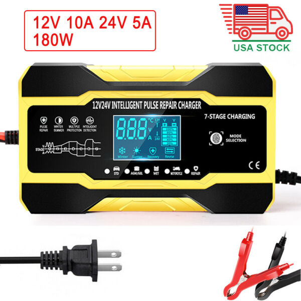 Car Battery Charger 12V 24V 10A 180W Touch LCD Boat Caravan Truck Battery Repair $28.99