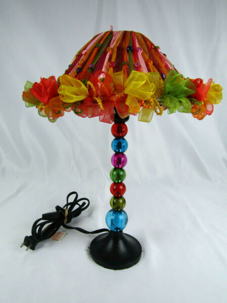 Brightly Colored Ribbon and Beads Vanity Lamp Hobby Lobby Boho Kid#x27;s Bedroom