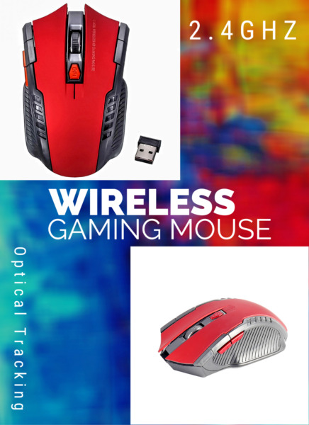Gaming Mouse Wireless FREE SHIPPING 2.4GHz 1600 DPI Ambidextrous AAA USB Optical