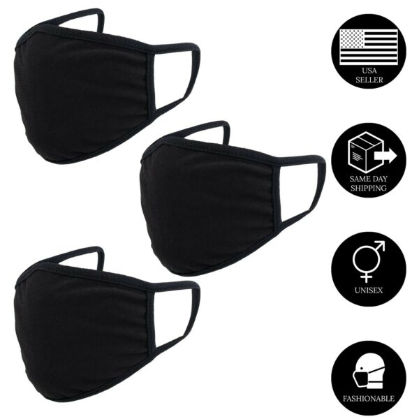 3Pcs x Double Layer Black Cotton Washable Face Mask Reusable Adult Unisex