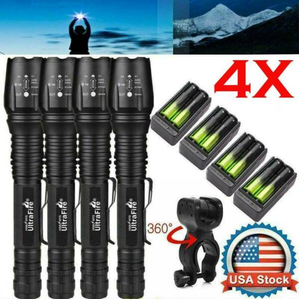 US 35000Lumens Tactical 5 Modes Zoomable  Focus LED Flashlight Torch Light