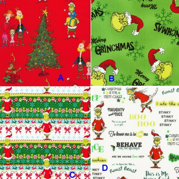 BTHY Holiday Seuss How The Grinch Stole Christmas Cotton Fabric By The Half Yard