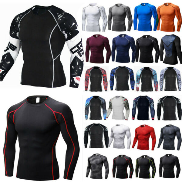 Men Compression T Shirt Under Base Layer Sports Long Sleeve Stretch Gym Tee Tops
