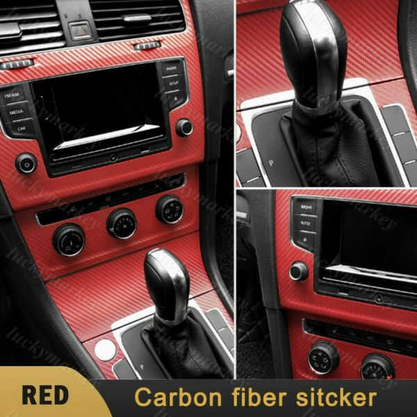 3D Red Car Interior Console Panel Red Carbon sticker Vinyl Film Protect Decal $8.46