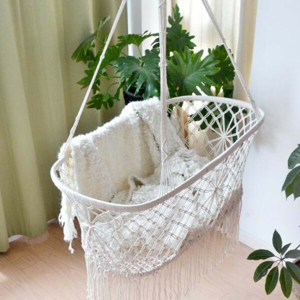 Cradle Hanging Hammock for Baby Girl Boy Pure Cotton Knit Baby Crib 90x55x34cm $64.99