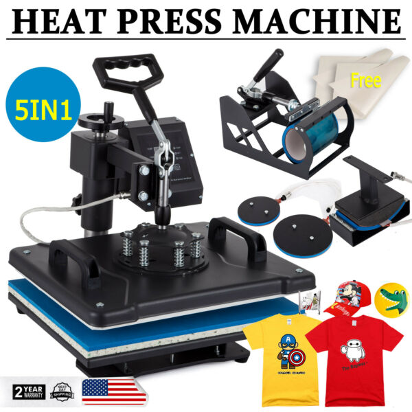 5IN1 15quot;x12quot; Combo T Shirt Heat Press Transfer Printing Machine Swing Away $135.50